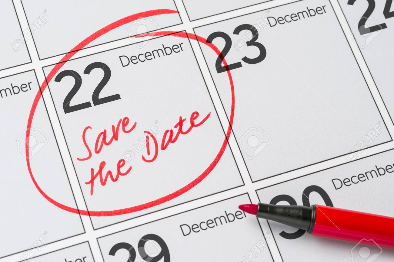 bbb950b30fde2e Save the Date written on a calendar - December 22 Stock Photo - 65115719