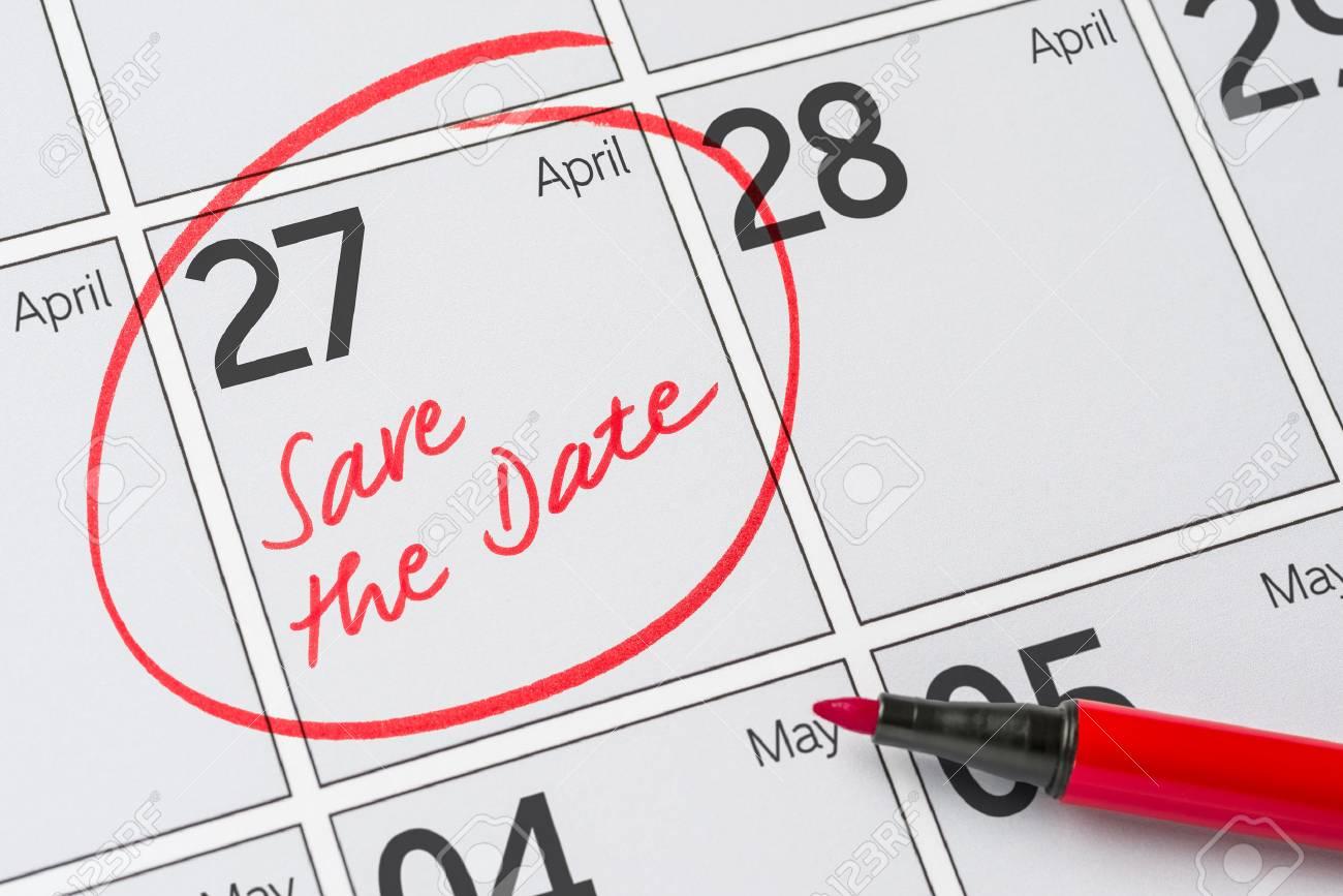 5df2d9bac7513 Save the Date written on a calendar - April 27