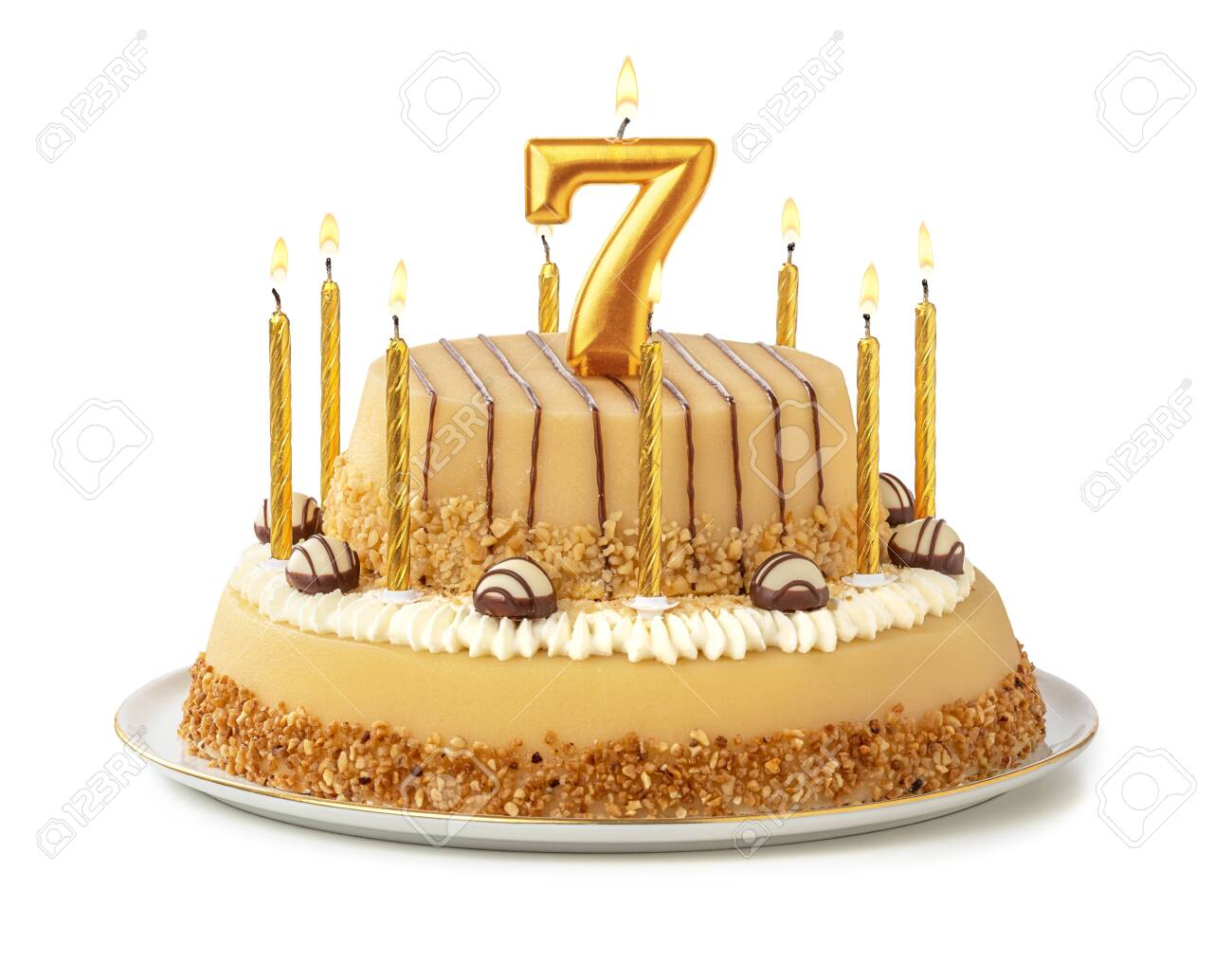 Stupendous Festive Cake With Golden Candles Number 7 Royalty Vrije Foto Funny Birthday Cards Online Inifodamsfinfo