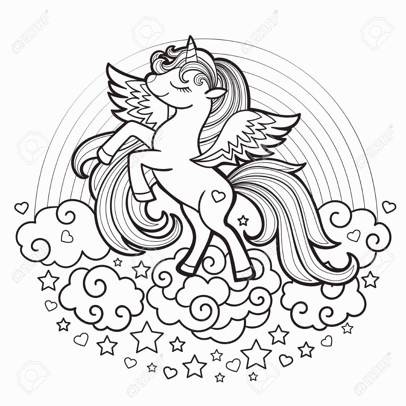 Cute Rainbow Unicorn. Black And White. Vector Illustration For