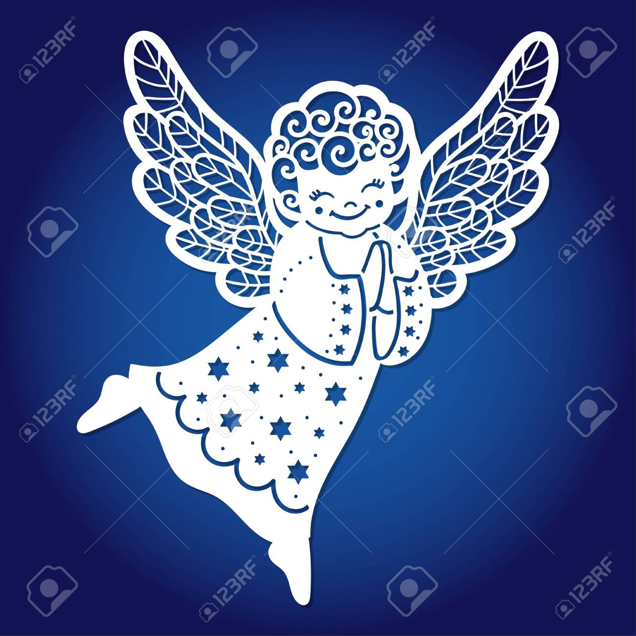 Template for laser cutting. Sweet little angel. For cutting from any material. For the design of greeting cards, envelopes, menus, Christmas tree decorations, interior elements. Vector - 155478120