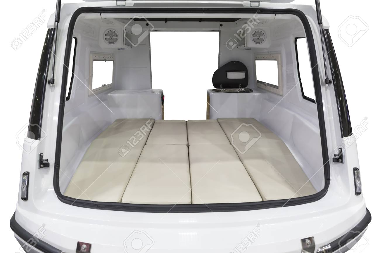 Simple Caravan Rear Interior On Isolated White Stock Photo