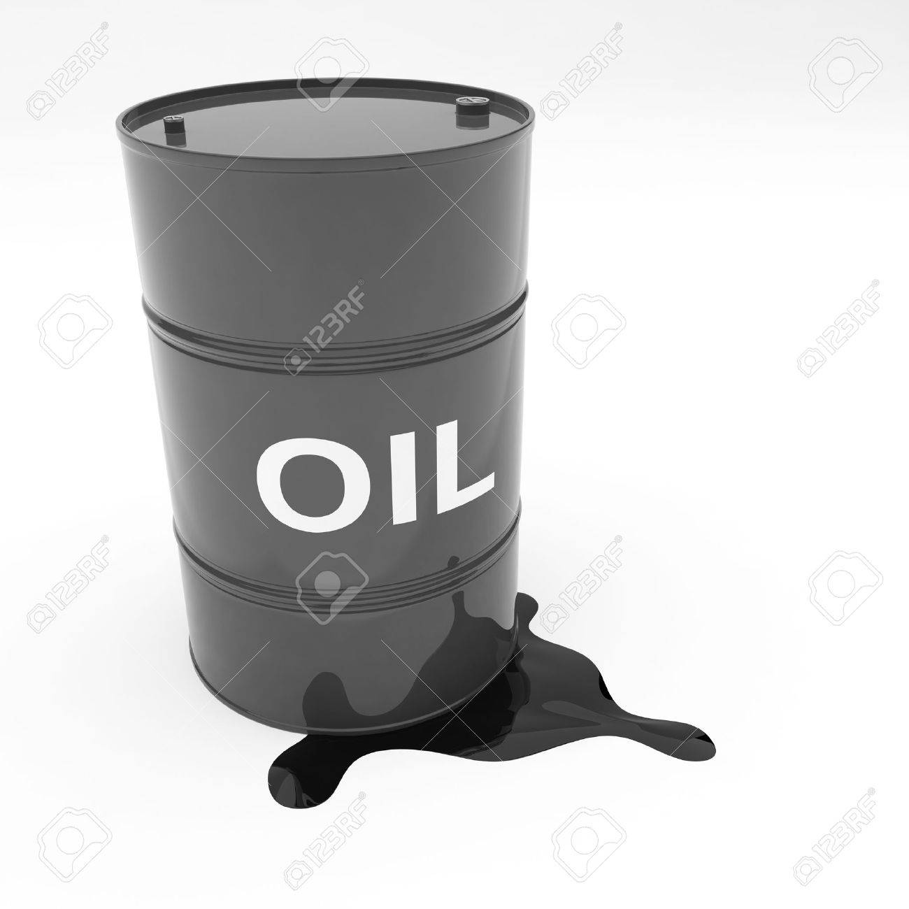 Steel 55 gallon oil drum black in color leaking contents Stock Photo - 9670397