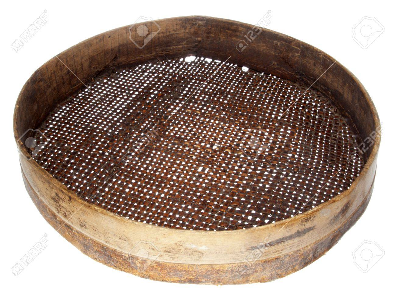 old wooden sieve isolated on white - 9849573