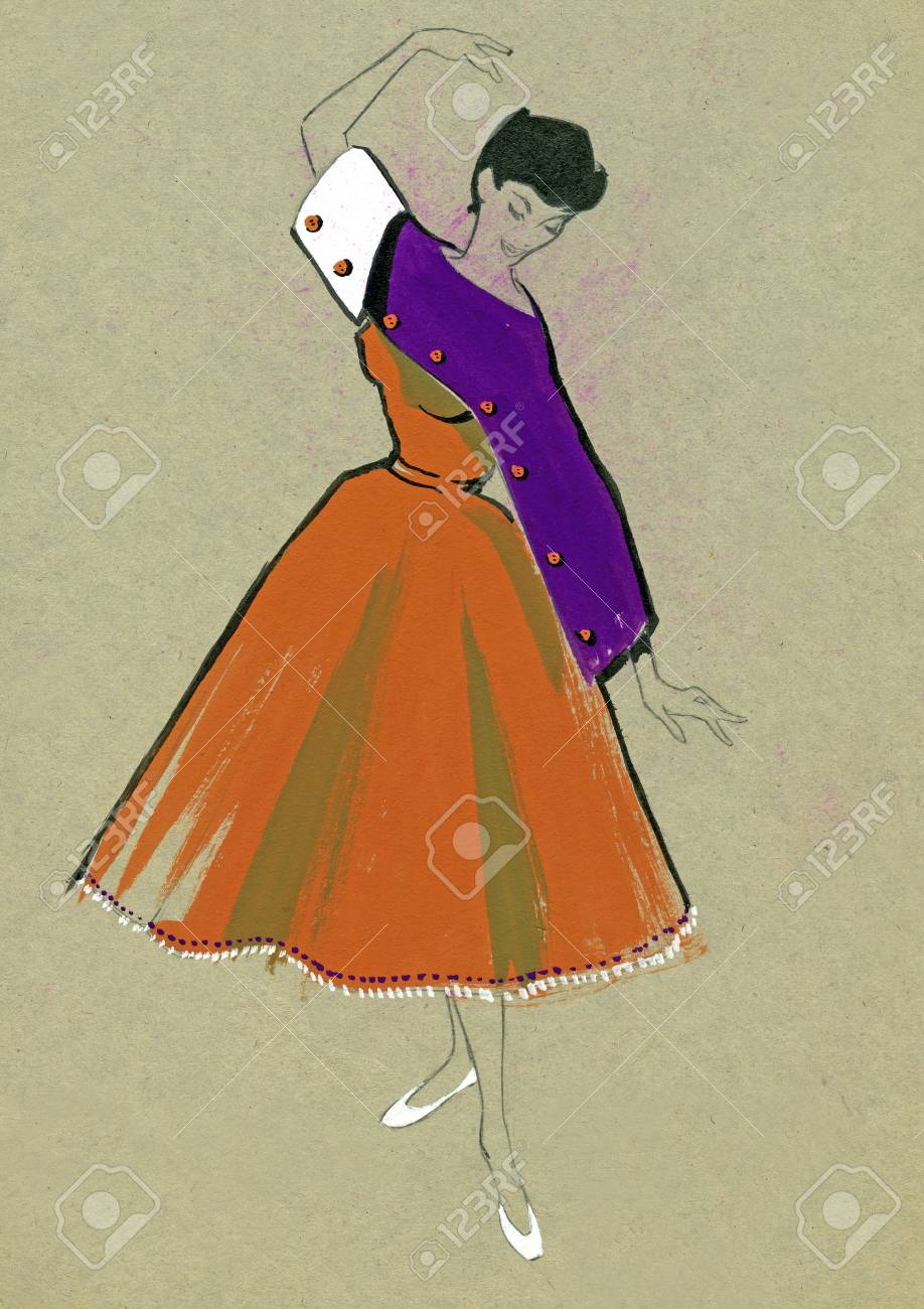 Sketch of a woman dress over plain background Stock Photo - 12173515