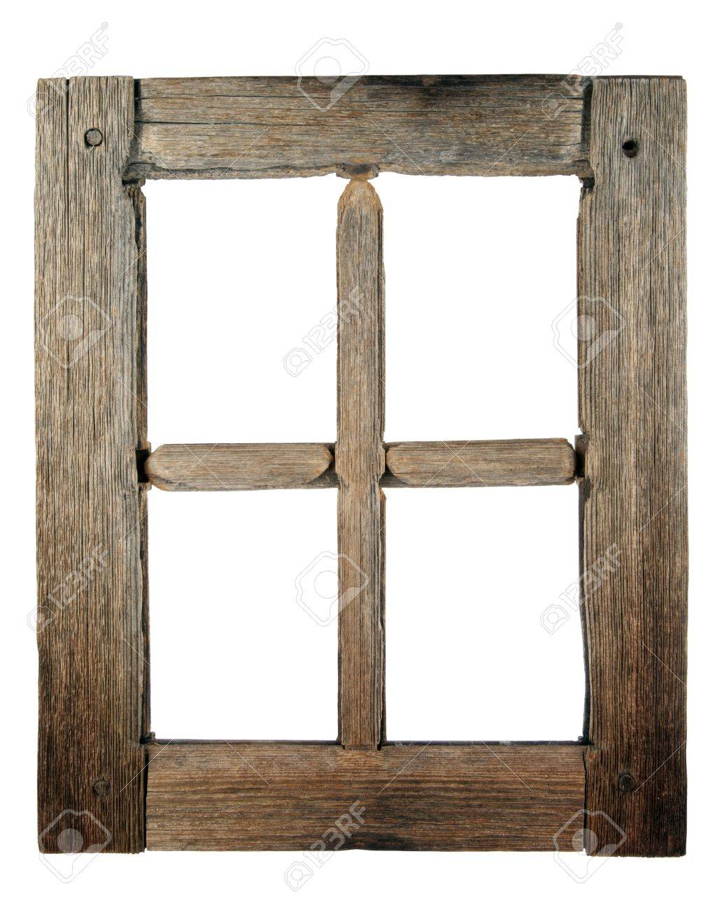 Stock Photo   Very Old Grunged Wooden Window Frame Isolated In White