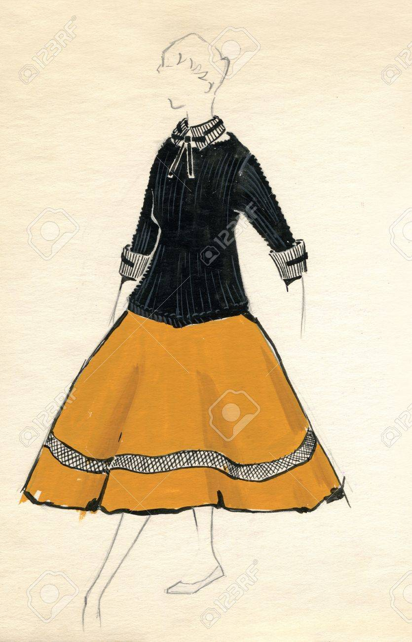 Sketch of a woman dress over plain background Stock Photo - 12672695