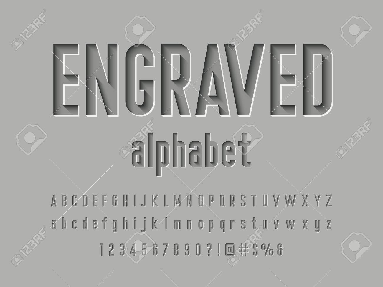 Engraved alphabet design - 117516621