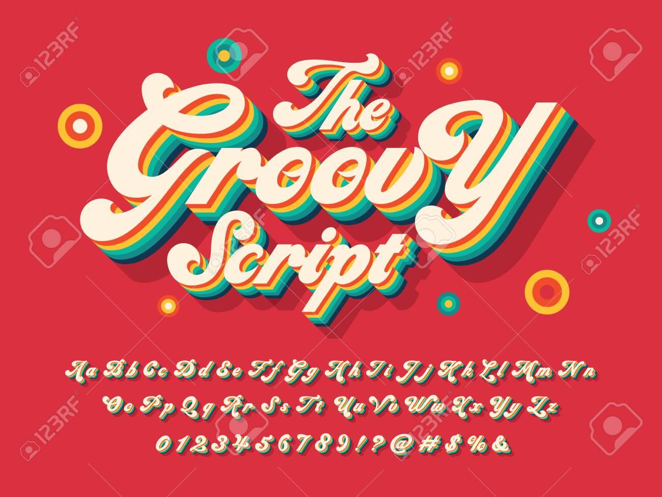 A groovy hippie style alphabet design - 119181885