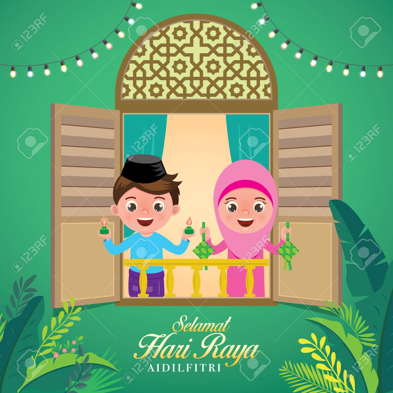 "vector illustration with cute muslim kids holding a lamp light and ketupat. Malay word ""selamat hari raya aidilfitri"" that translates to wishing you a joyous hari raya. - 121249645"