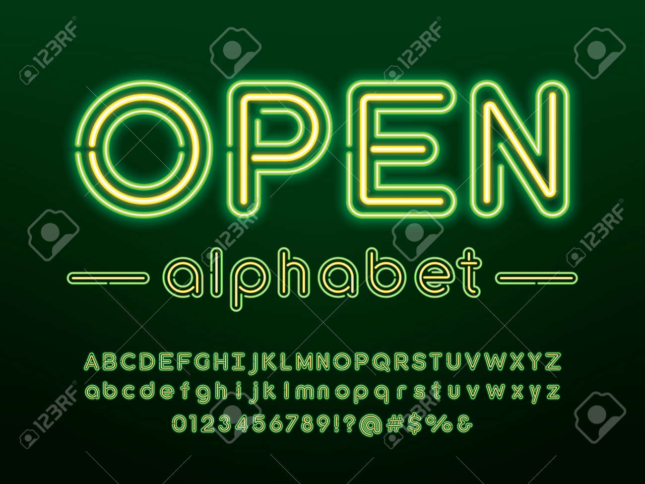 Glowing neon light alphabet design with uppercase, lowercase, numbers and symbol - 124361338