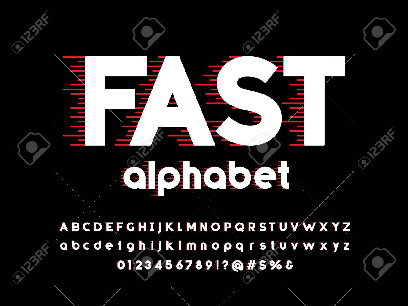Speed style alphabet design with uppercase, lowercase, numbers and symbol - 135128374