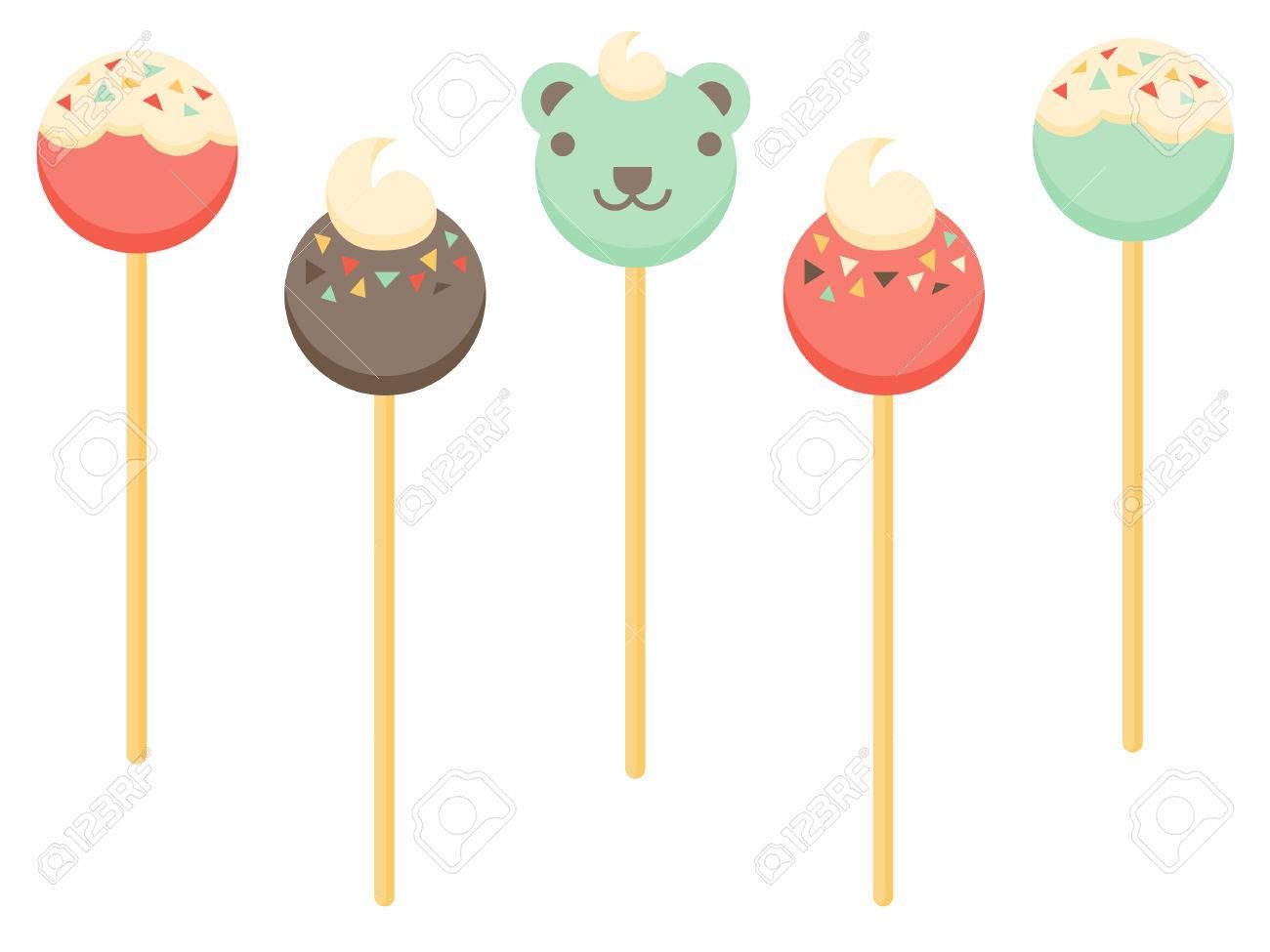 Various Cake Pop Designs Including A Teddy Bear Cake Pop Royalty ...
