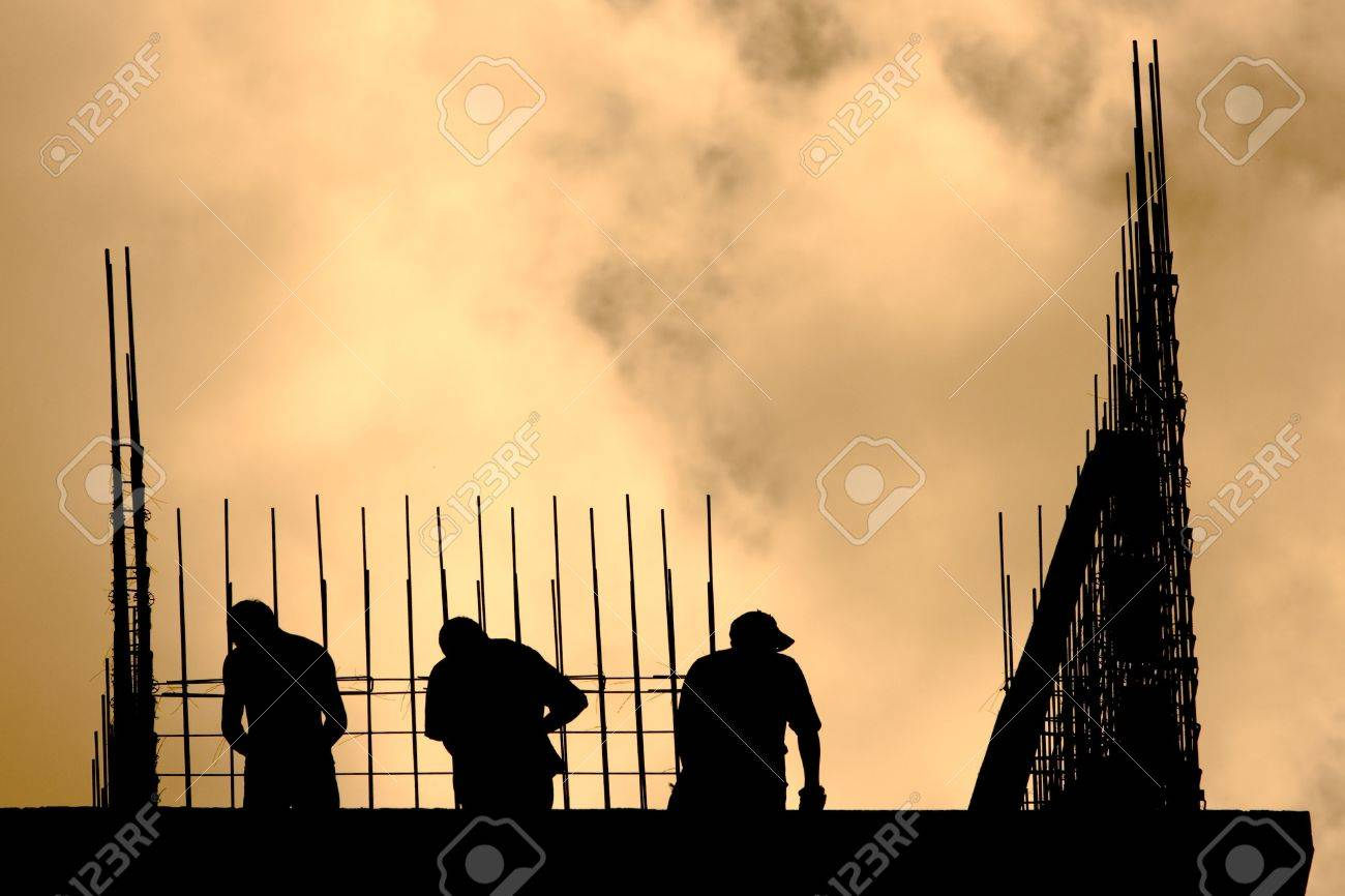 Siluet of Construction Workers Stock Photo - 3494356