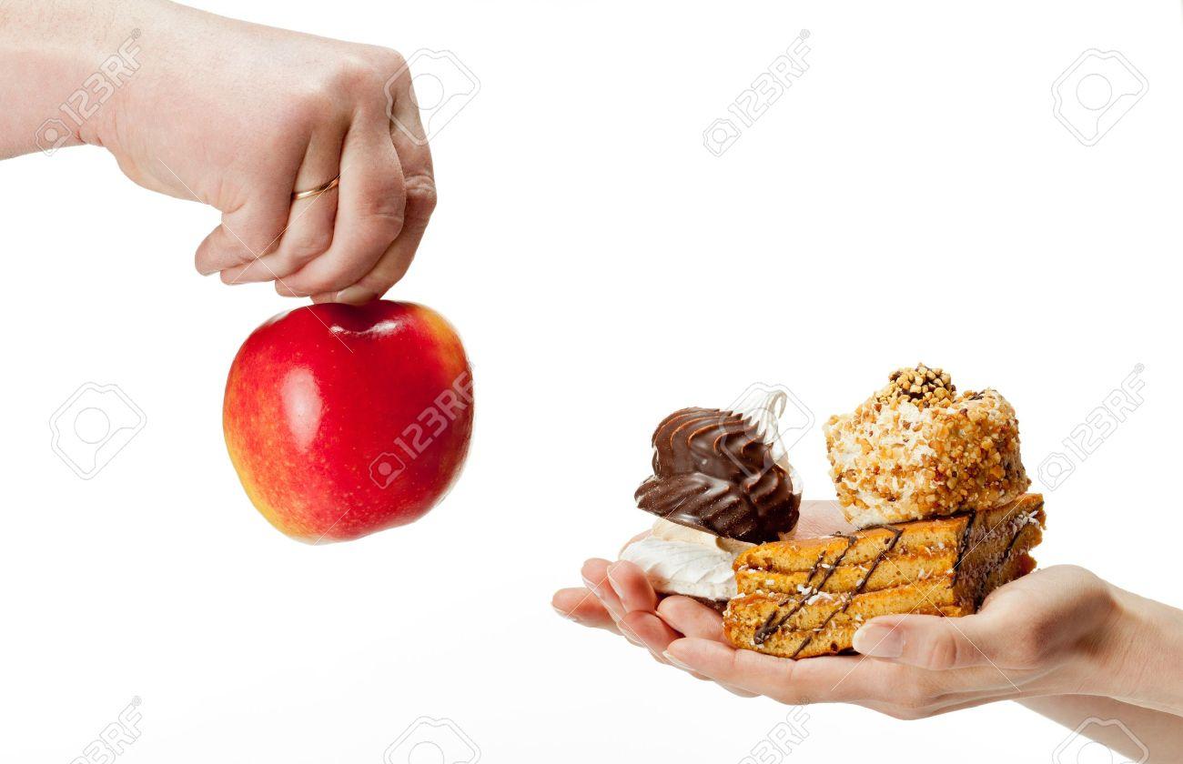 Hande Schlagen Apfel Gesunde Ernahrung Und Kuchen Ungesundes