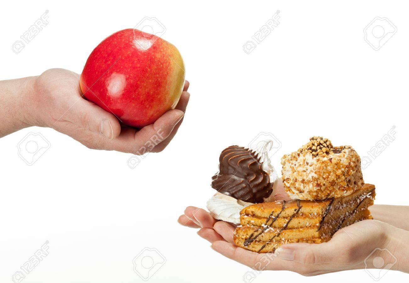 Hande Schlagt Apfel Gesunde Ernahrung Und Kuchen Ungesunde