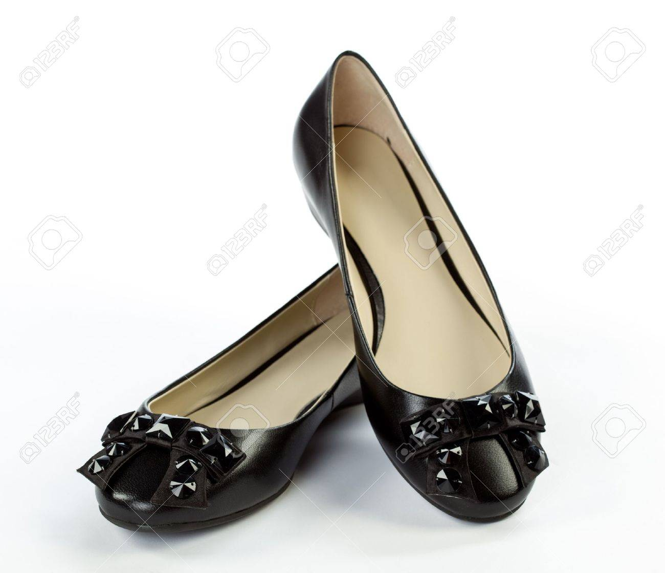 1133eaad5 Pair Of Elegant Flat Shoes On White Background Stock Photo, Picture ...