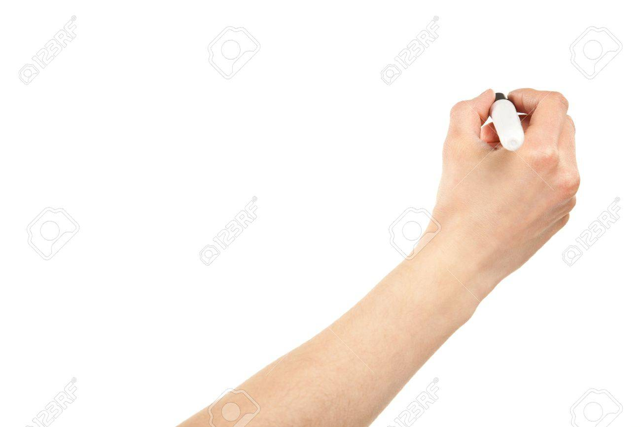 Closeup of a human hand writing with marker isolated on white; copy space Stock Photo - 12906734