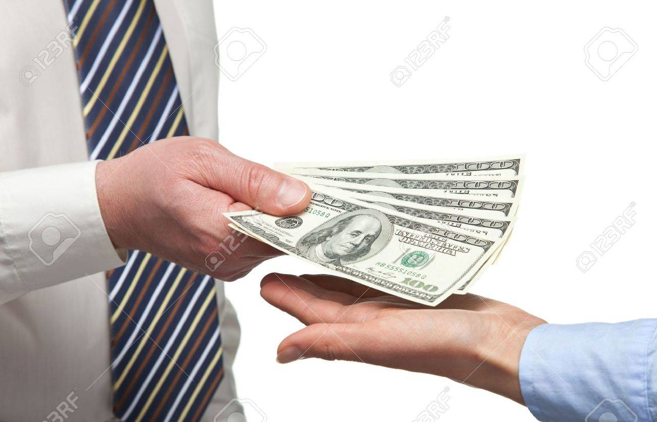 Human hands exchanging money on white background - 17666479