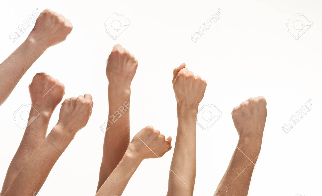 Group of hands showing fists raised up, white background, copy space - 18147401