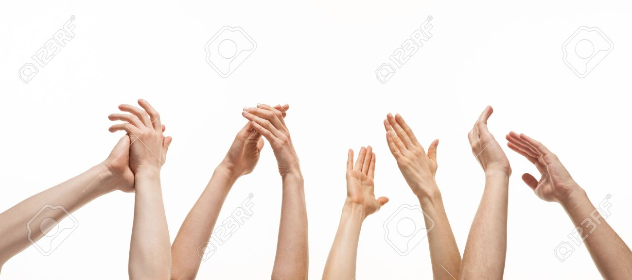 Group of hands applauding on white background - 18157517