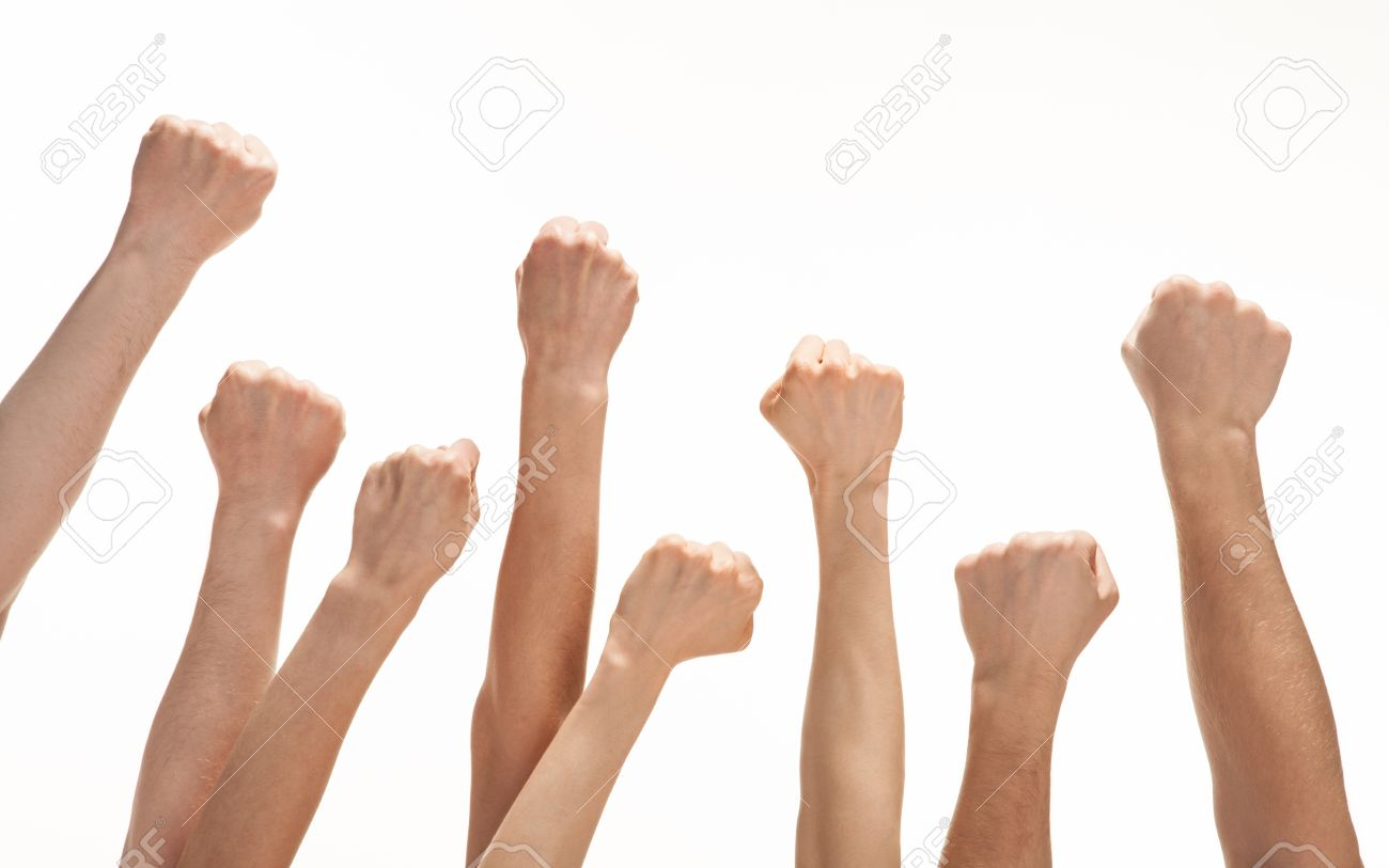 Group of hands (fists) raised up - 19310181