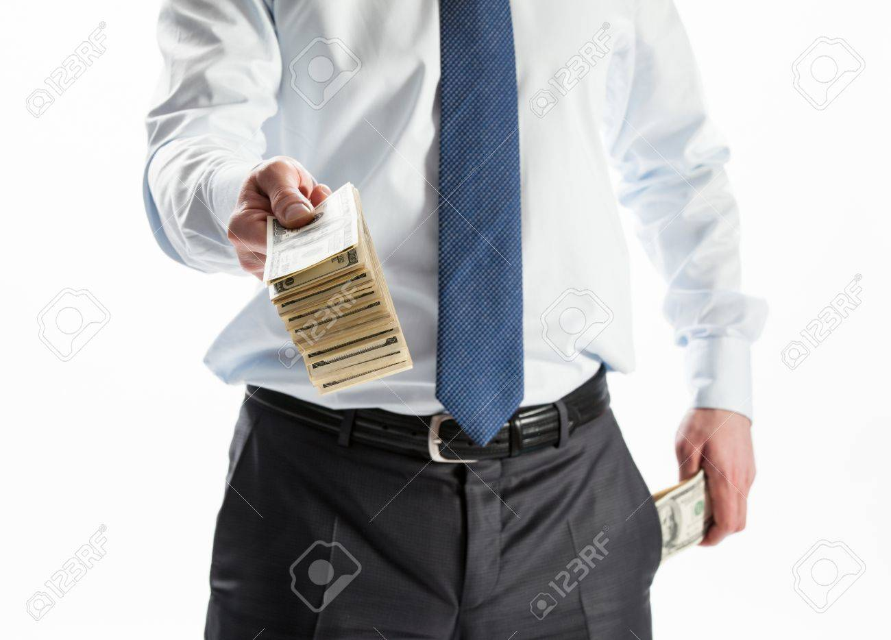 Businessman offering money to you on white background - 20935075