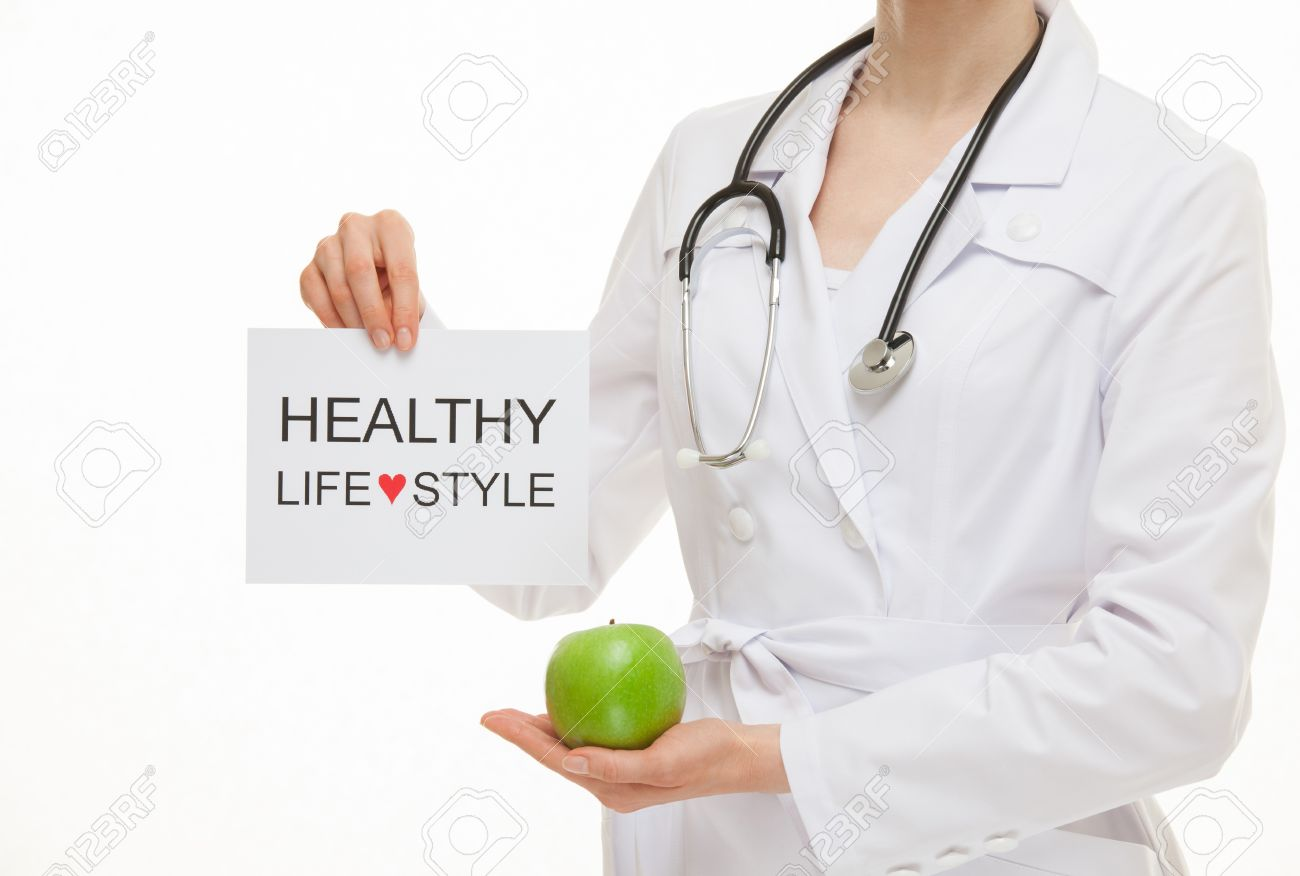 Doctor calling to healthy lifestyle , white background - 41322299