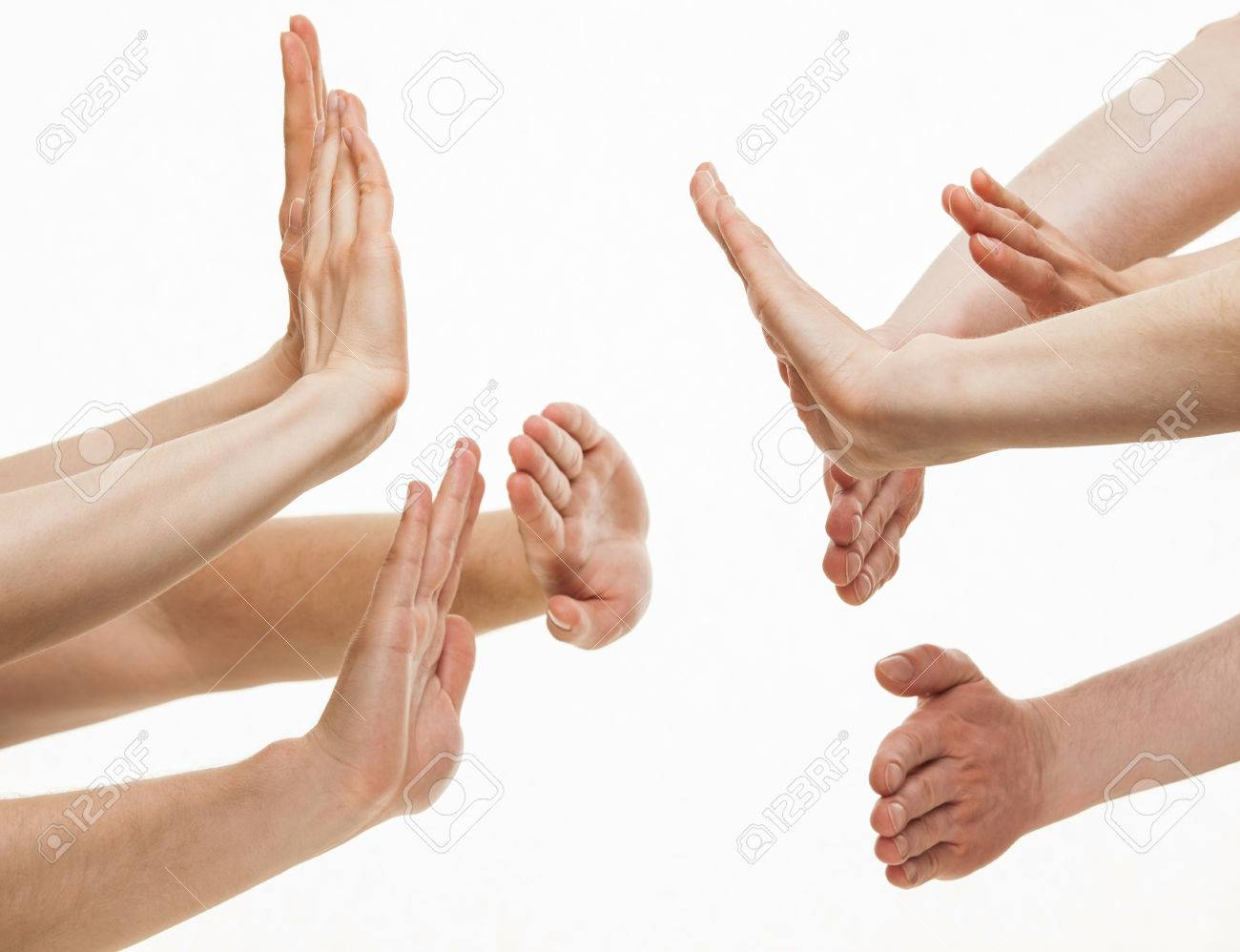 Two group of people greeting each other white background stock stock photo two group of people greeting each other white background m4hsunfo