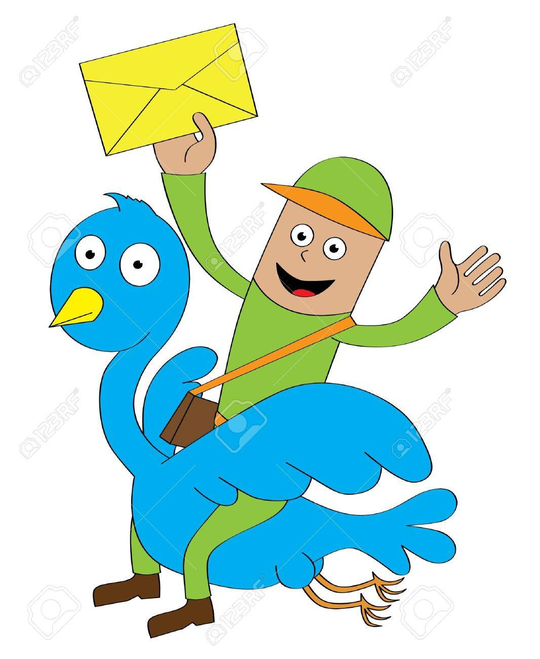 A postman sending letters by riding a flying blue bird  Features  - well layered vector file for easy color changes - saved as an AI10-compatible EPS Stock Vector - 14807416