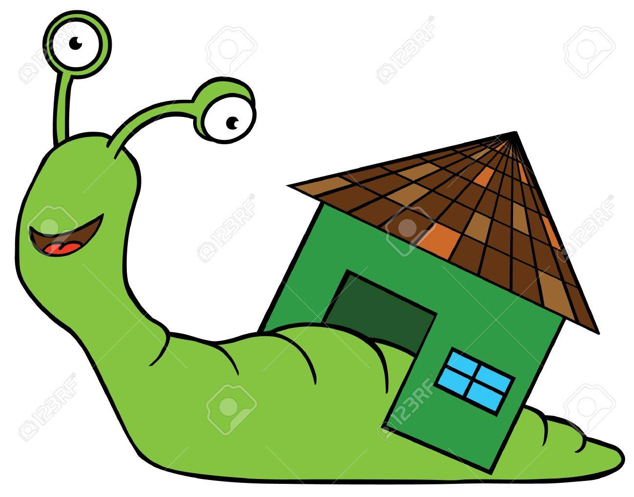 illustration of a snail with home Stock Vector - 15668973