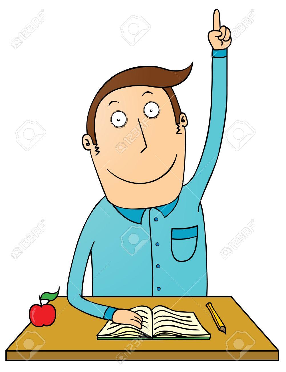 raising hand student royalty free cliparts, vectors, and stock