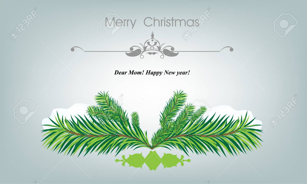 Xmass Card With Fir And Snowflakes For Greeting Cards Or Invitation ...