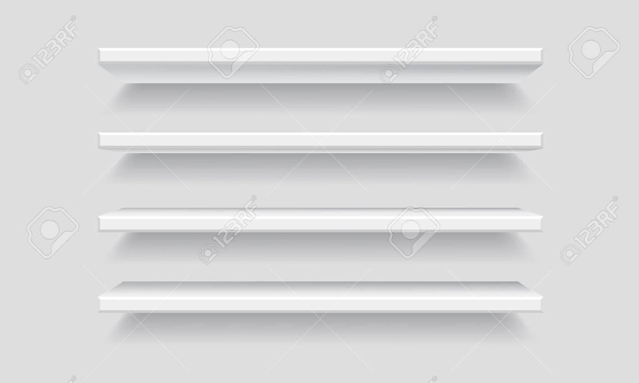 Witte Planken Aan De Muur.Vector Witte Lege Plank Planken Geisoleerd Op Muur Achtergrond Mock