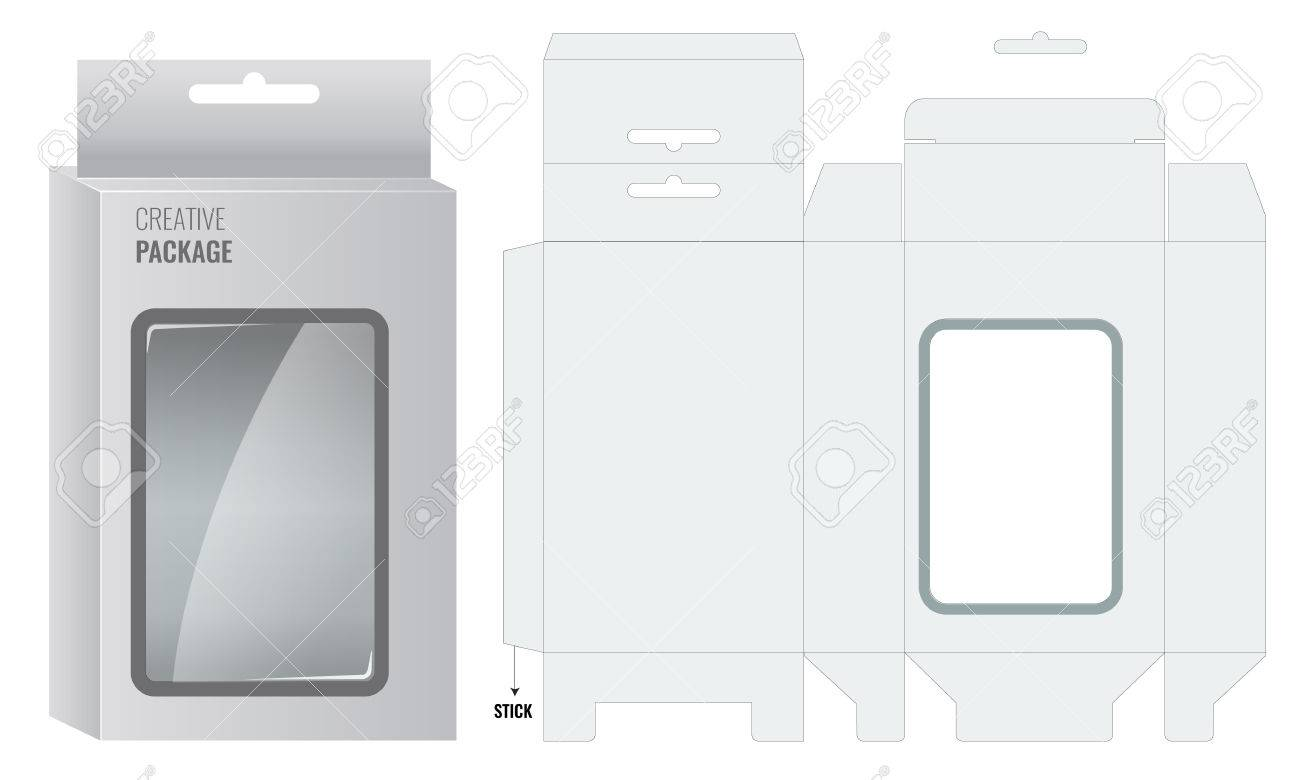 Ready Box design with Shelf Hanging Holes and Die cut Layout. Blueprint design. Illustrated vector - 54546919