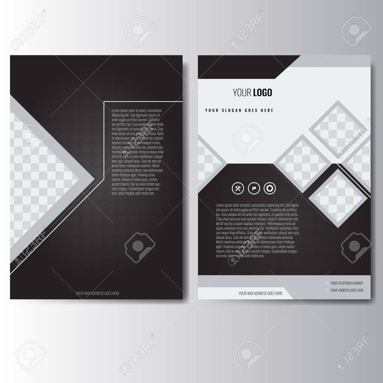 Creative White And Black Annual Report Leaflet Brochure Flyer