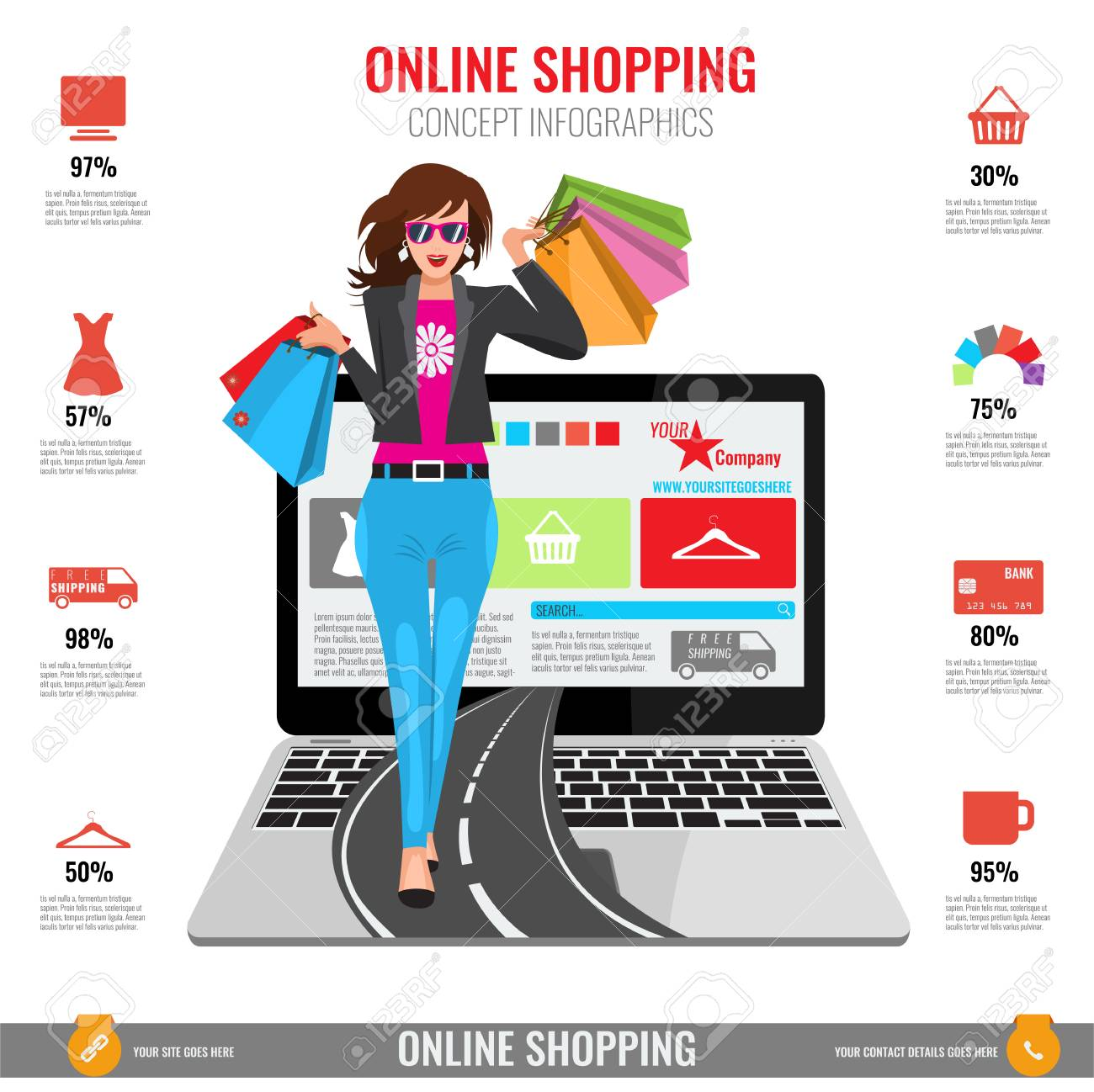99ffdc85a Online shopping concept infographics in vector. Illustrated Woman with paper  shopping bags walking from laptop