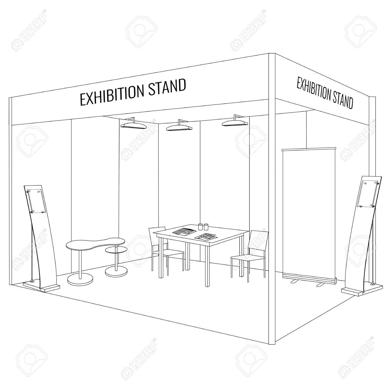 Eetstoel Met Tafel.Vector Blank Vakbeurs Booth Staan Met Een Tafel En Stoel Info