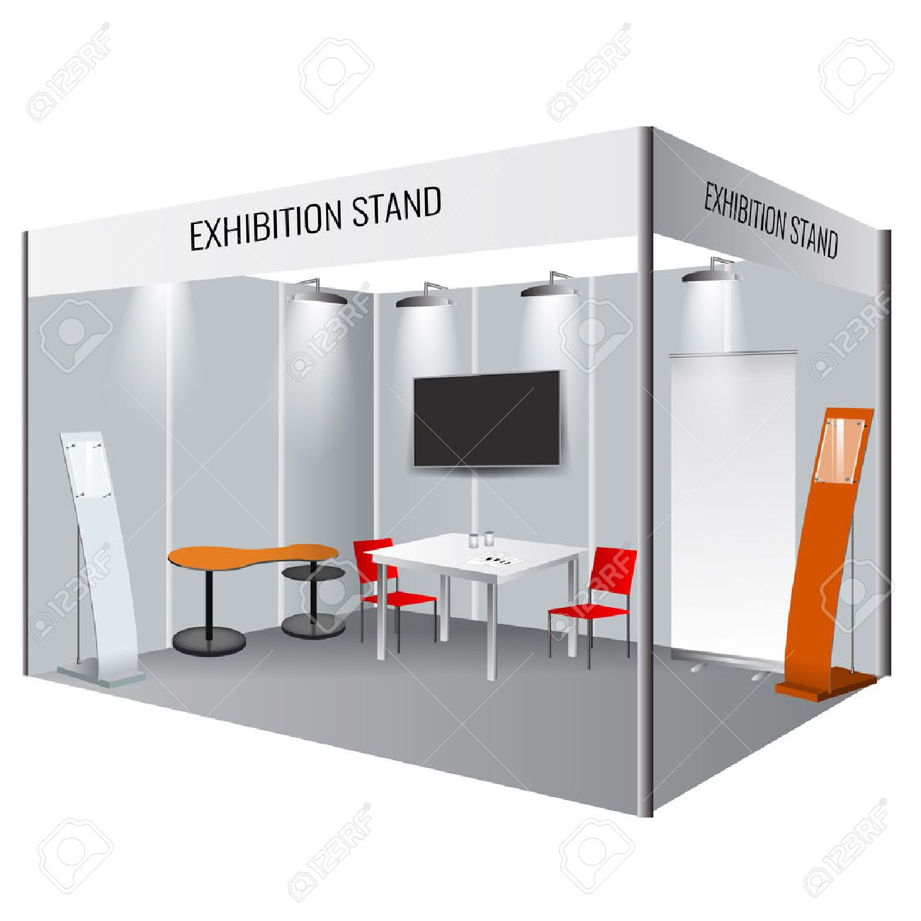 Exhibition Stand Free Vector : Illustrated unique creative exhibition stand display design