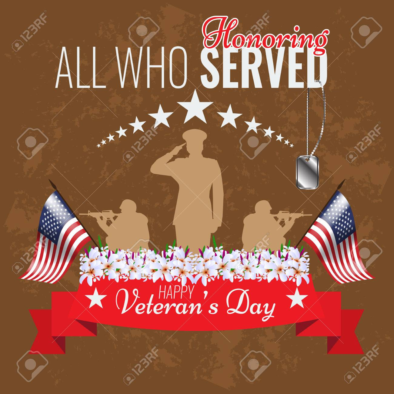 Veterans Day Background Vector Veteran Greeting Card Ribbon