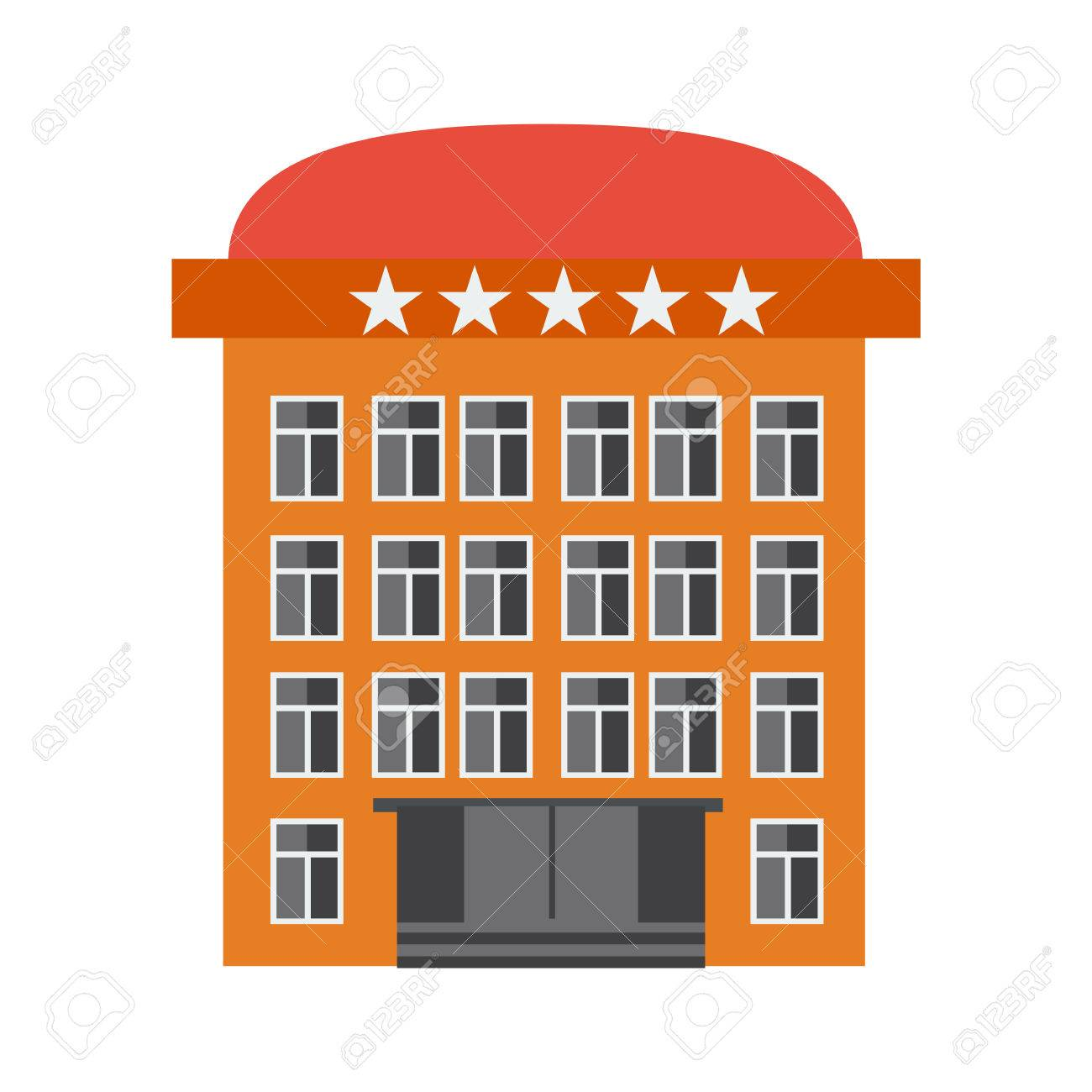 Orange Hotel Building Flat Colored Vector Illustration Icon With 5 Stars Stock