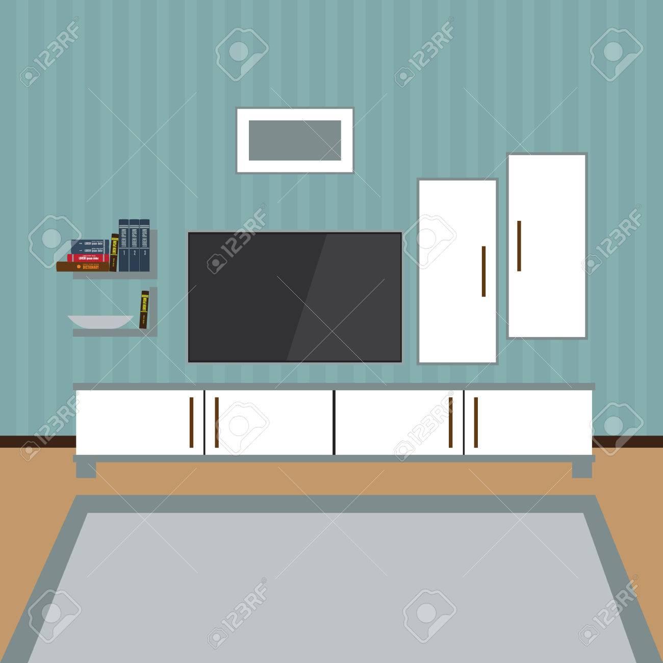 Vector Innenraum Eines Wohnzimmer. Moderne Wohnung, Design ...