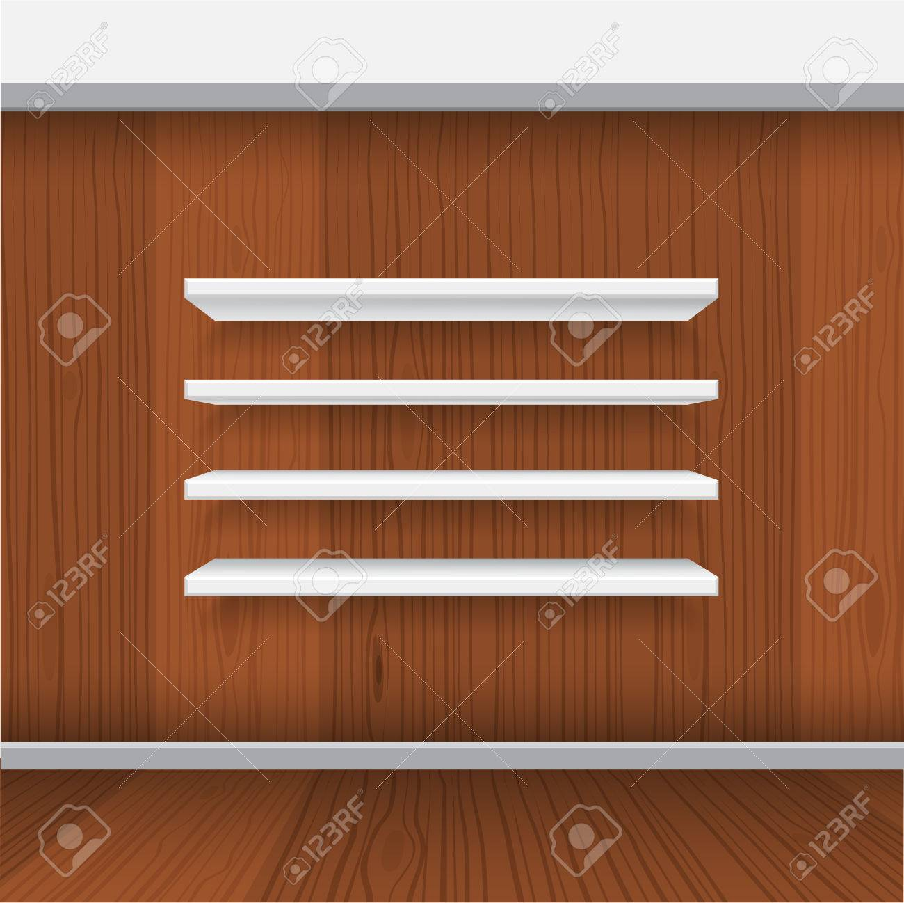 Interior wooden shelves free vector - Vector White Empty Shelf Shelves Isolated On Wall Background Display Mock Up With Realistic