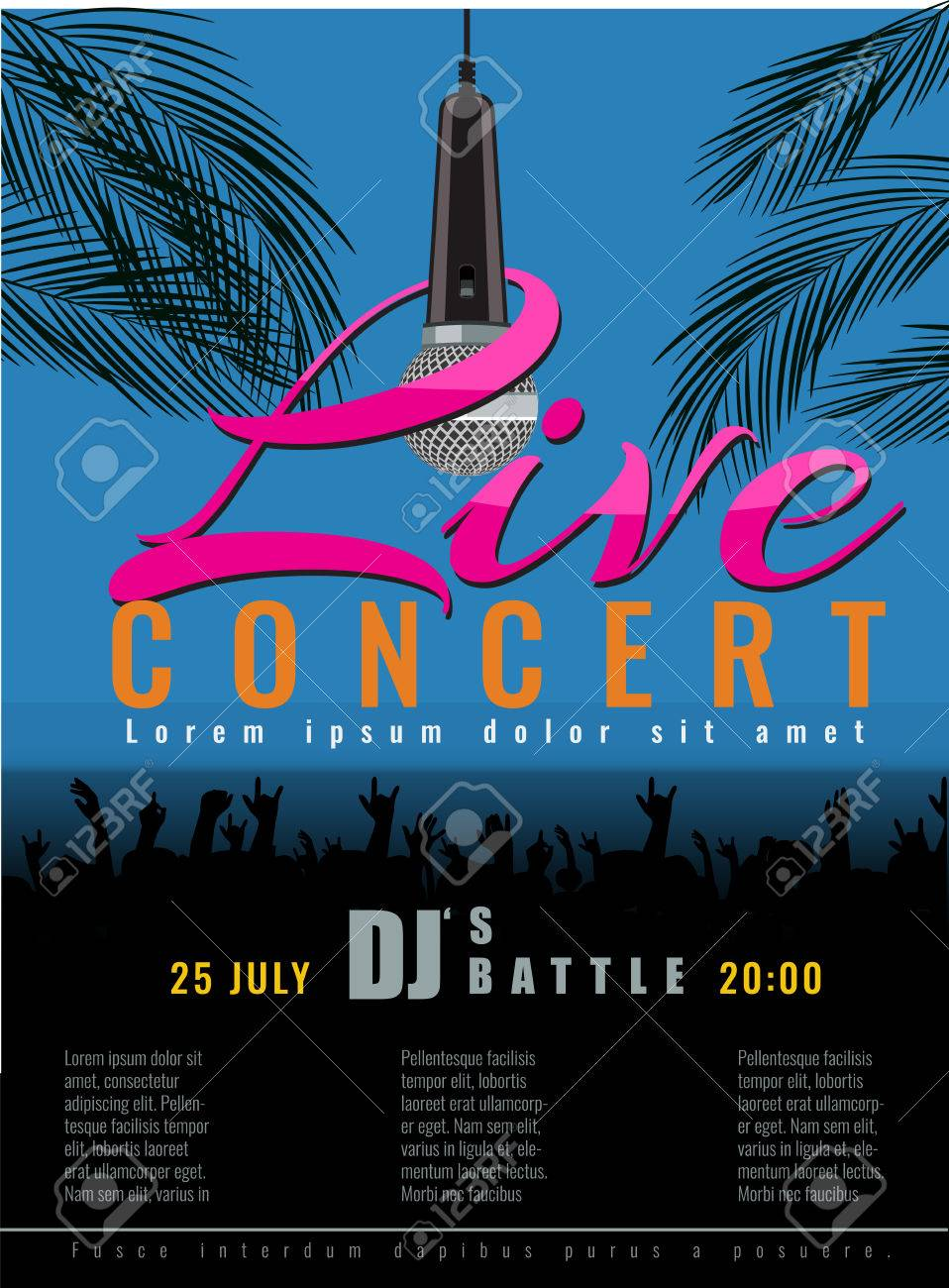 Summer Beach Live Concert And DJ Party Flyer Or Poster With Flat ...