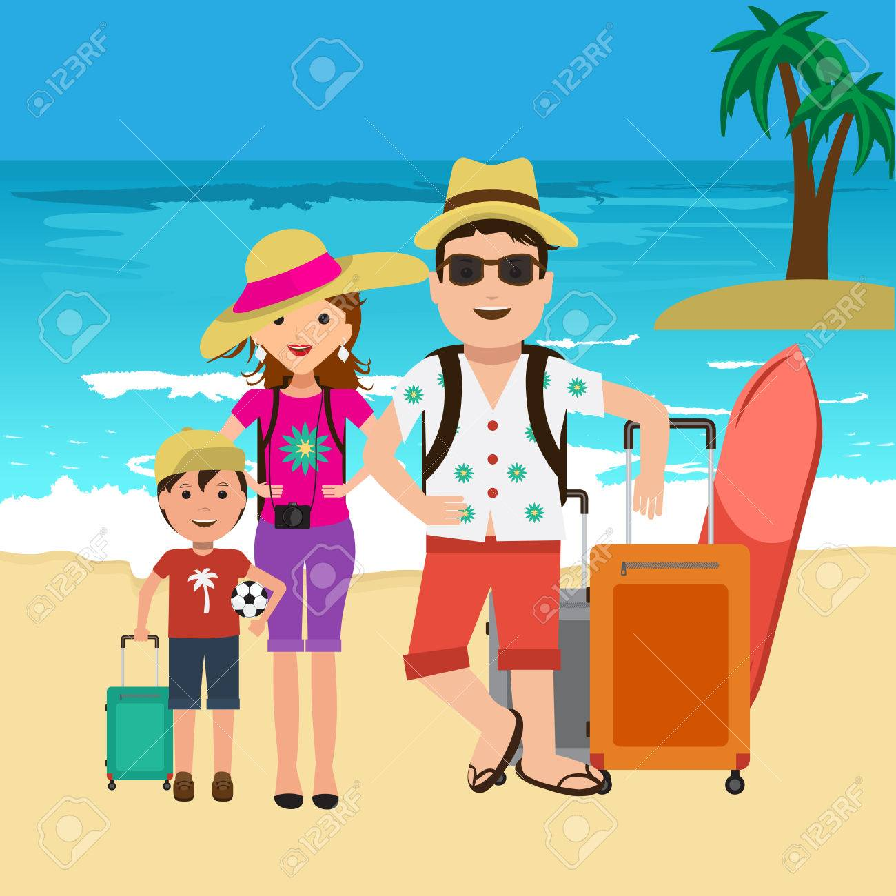 Vector Illustration Of Happy Family Going On Surf Vacation Beach