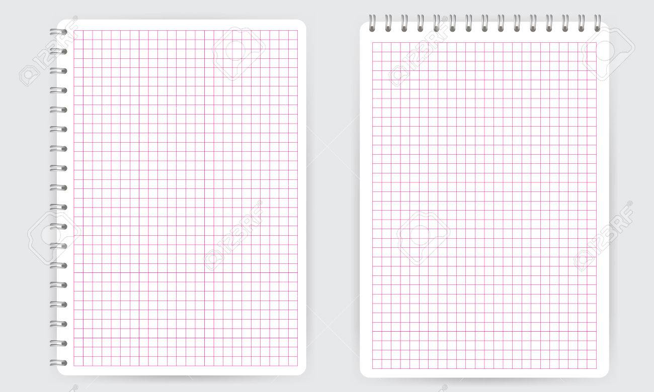 Blank Realistic Spiral Notepad Notebook With Pink Thin Squared ...