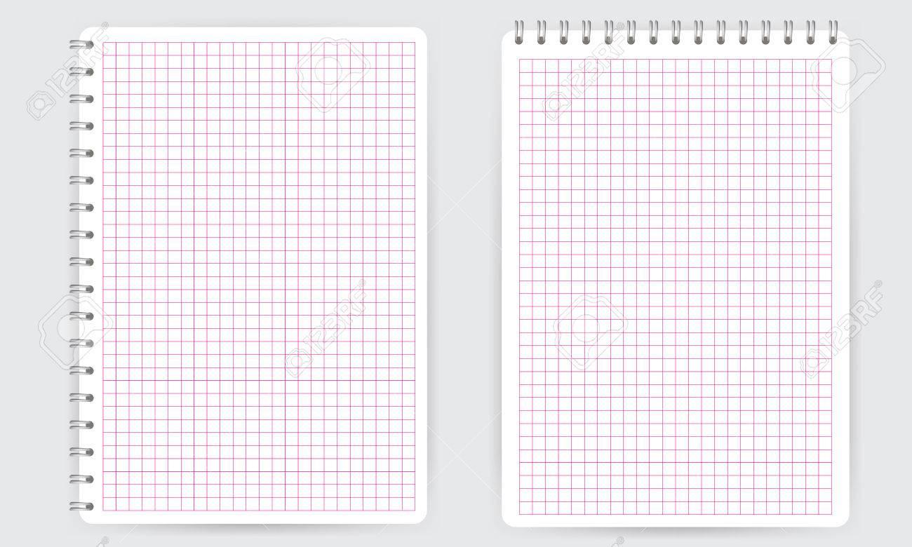 Blank Realistische Notizblock Spirale Notebook Mit Rosa Dünn Squared ...