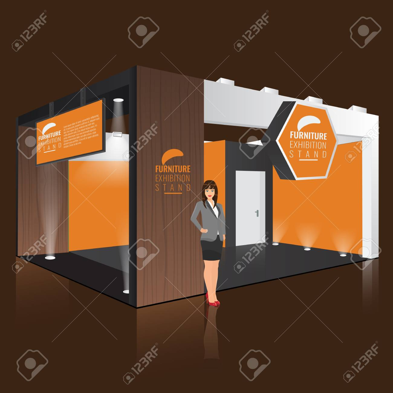 Creative Booth Exhibition : Creative exhibition stand display design with info board. booth