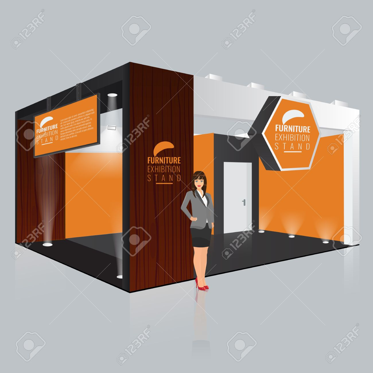 Exhibition Stall Xl : Creative exhibition stand display design with info board. booth
