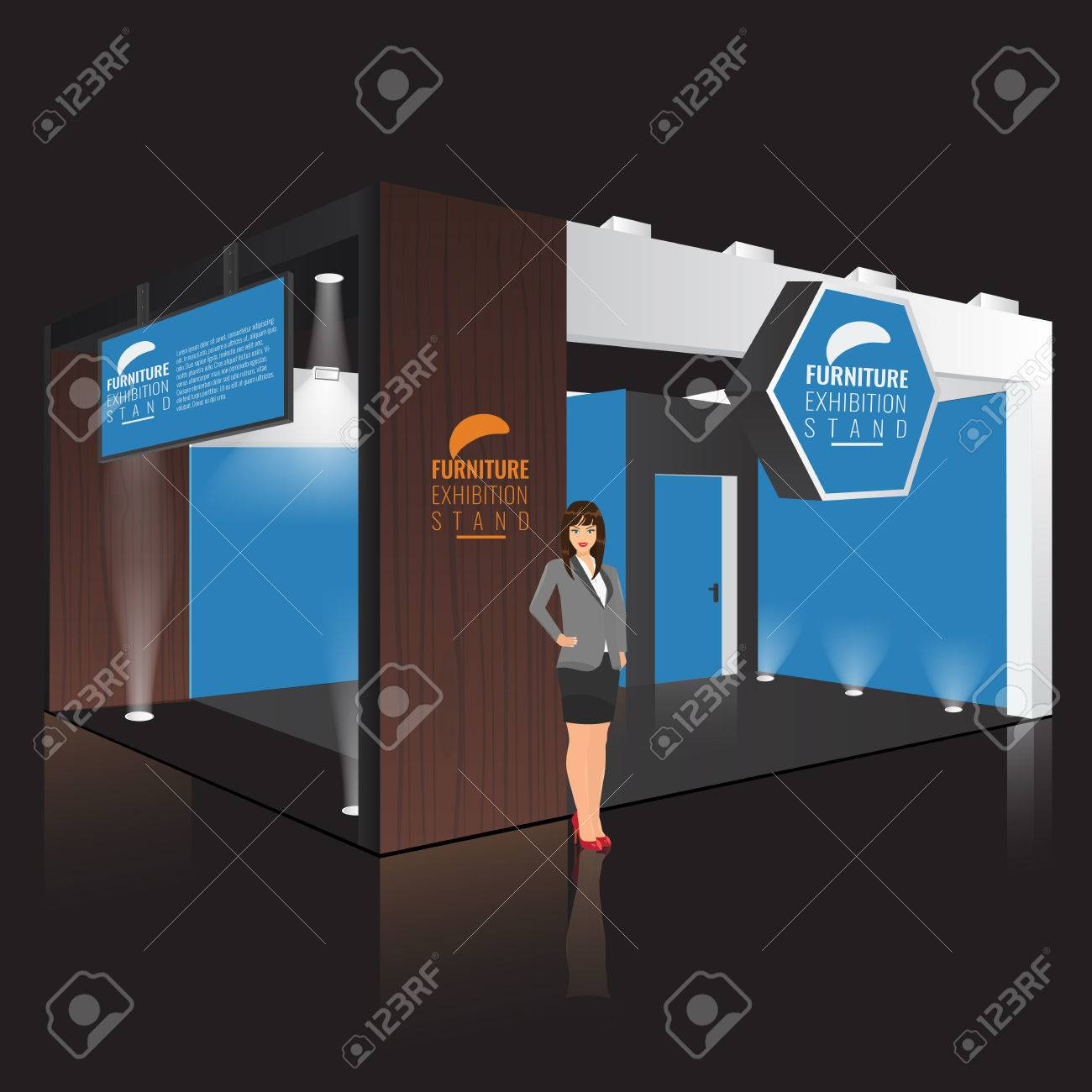 Exhibition Stand Lighting Xl : Creative exhibition stand display design with info board. booth